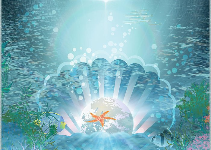 Symbolic Digital Art Greeting Card featuring the digital art The Depths Of The Ocean by Harald Dastis