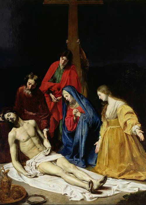 Religion Greeting Card featuring the painting The Descent From The Cross by Nicolas Tournier