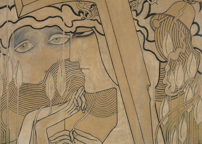 Jan Greeting Card featuring the pastel The Desire And The Satisfaction by Jan Theodore Toorop