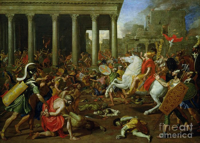The Greeting Card featuring the painting The Destruction Of The Temples In Jerusalem By Titus by Nicolas Poussin