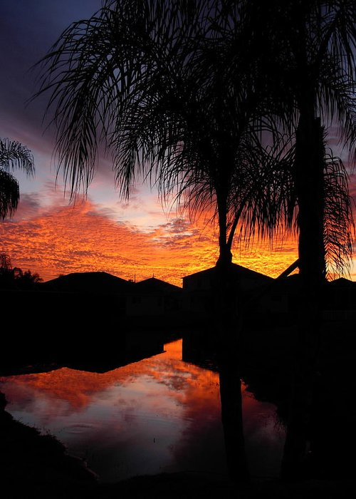 Sunsets Greeting Card featuring the photograph The Devil's Reflection by Amanda Vouglas