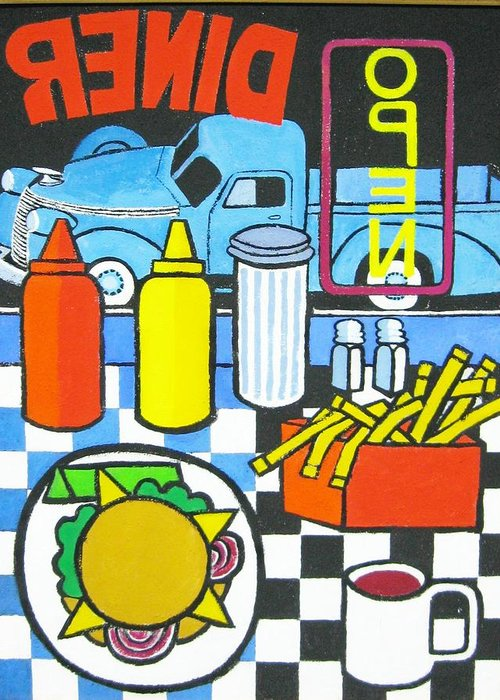 Diner Greeting Card featuring the painting The Diner by Nicholas Martori