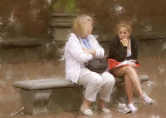 Mom Daughter Friends Boston Bench Disagreement Tired Discuss Greeting Card featuring the painting The Discussion by Eddie Durrett