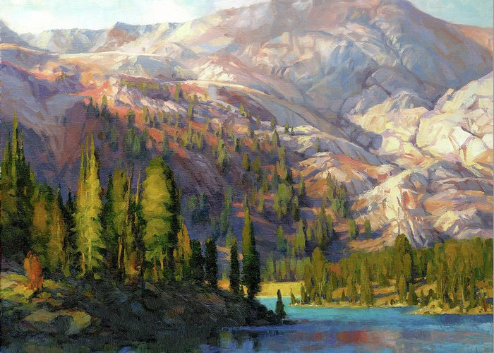 Mountain Greeting Card featuring the painting The Divide by Steve Henderson