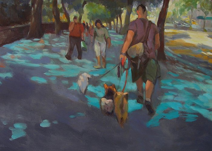 Dogs Greeting Card featuring the painting The Dog Walker by Merle Keller