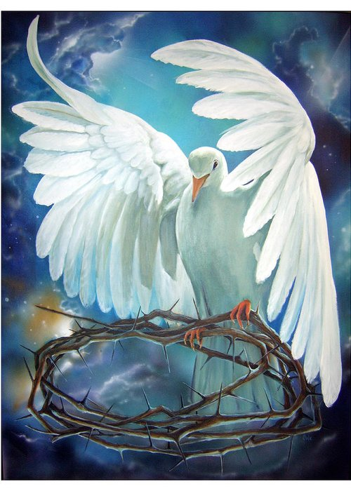 Dove Greeting Card featuring the painting The Dove by Larry Cole