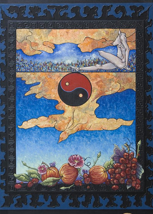 Karma Greeting Card featuring the painting The Dream by Judy Henninger