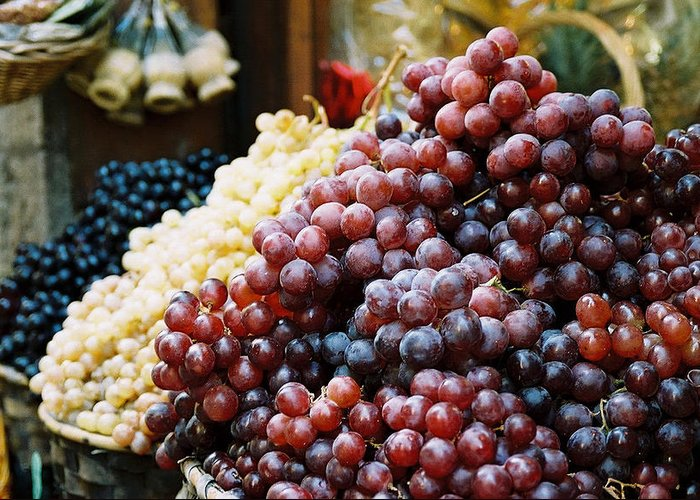 Grapes Greeting Card featuring the photograph The Drink Of Italy by Kathy Schumann