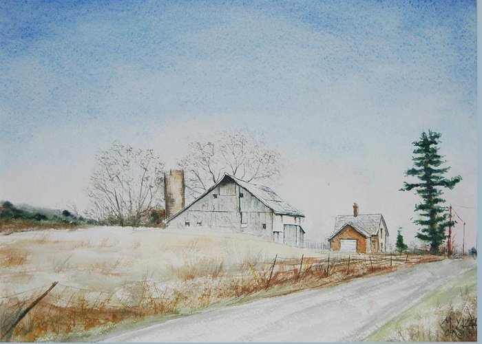 Landscape Greeting Card featuring the painting The Drockner Place by Mike Yazel