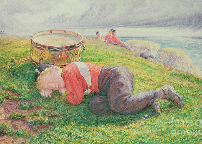 The Greeting Card featuring the painting The Drummer Boy's Dream by Frederic James Shields