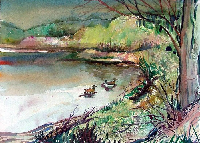 Ducks Greeting Card featuring the painting The Duck Pond by Mindy Newman