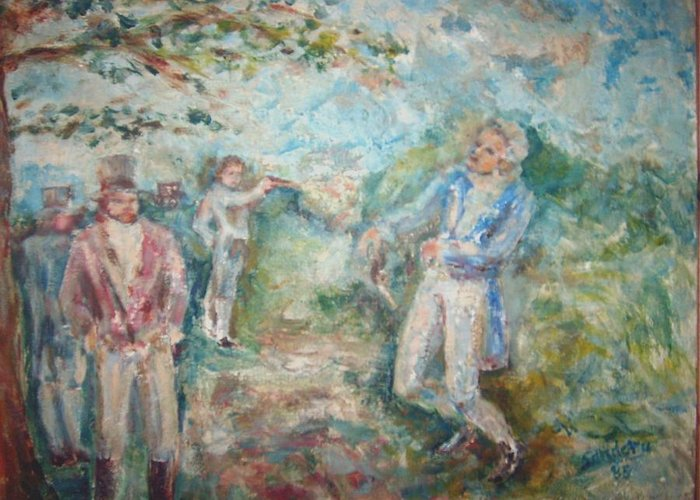 People Landscape Historical Duel Greeting Card featuring the painting The Duel by Joseph Sandora Jr