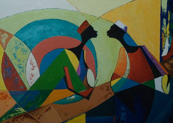 Greeting Card featuring the painting The Duet by Alfred Awonuga