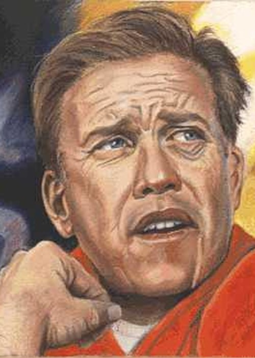 Portrait Greeting Card featuring the painting The Duke Of Denver - John Elway by Kenneth Kelsoe