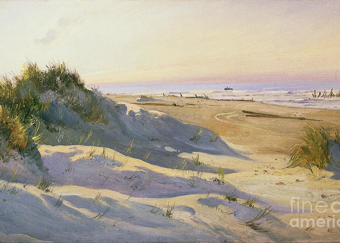 Beach Greeting Card featuring the painting The Dunes Sonderstrand Skagen by Holgar Drachman