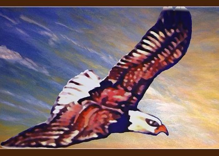 Bright Golden Orange Sunrise With Blue Skies And Wispy Light Clouds In The Background Bald Eagle Soaring In The Sky Native American Spiritual Symbolism Acrylic And Digital Nature Scene Bald Eagle Artwork Greeting Card featuring the painting The Eagle Or The Great Thunderbird Spirit In The Sky by Kimberlee Baxter