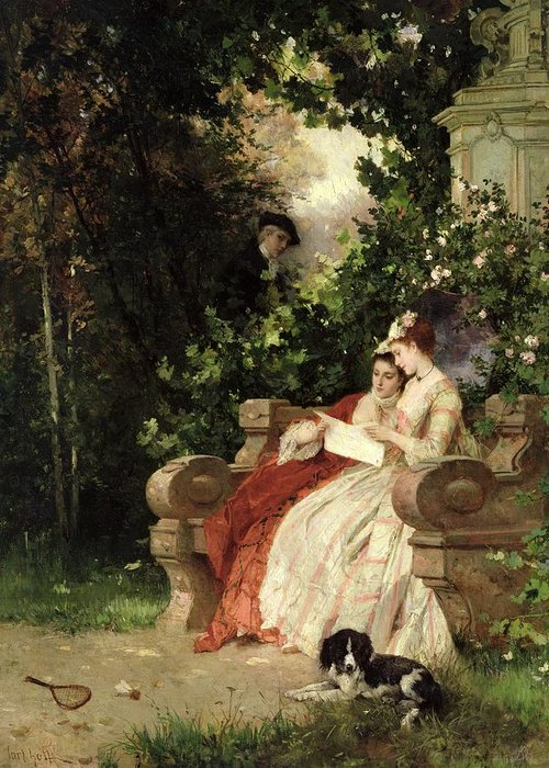 Garden; Overhearing; Eavesdropping; Peeping Tom; Hiding; Voyeur; Dangerous Liaisons; Spy Greeting Card featuring the painting The Eavesdropper by Carl Heinrich Hoff