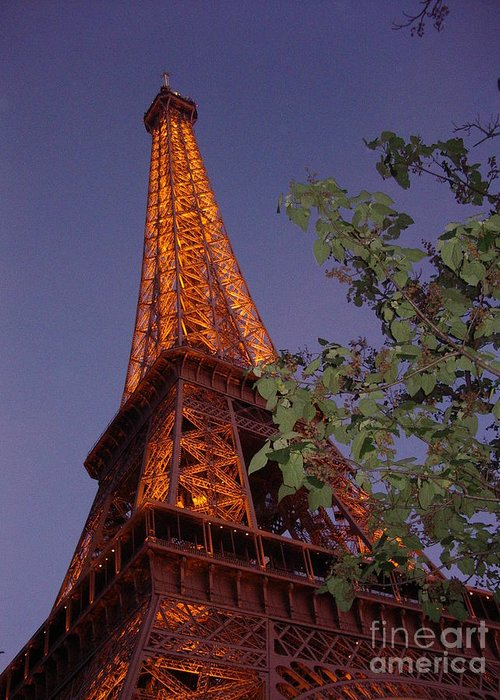 Tower Greeting Card featuring the photograph The Eiffel Tower Aglow by Nadine Rippelmeyer