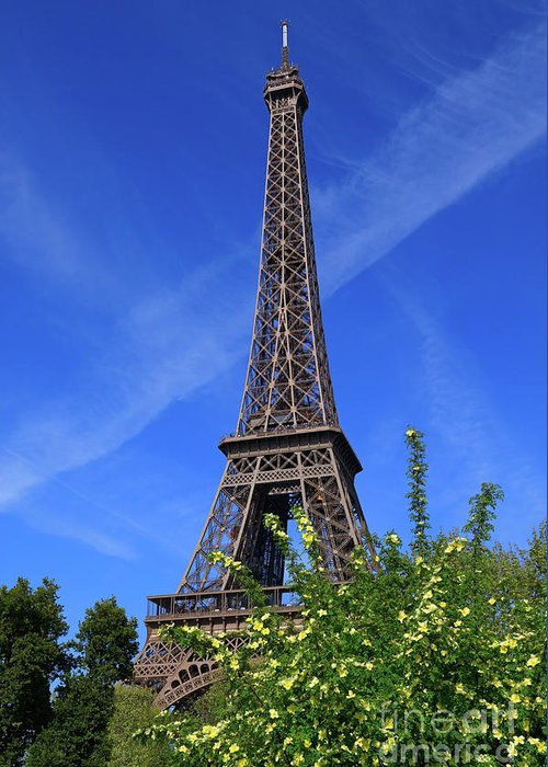 Eiffel Tower Greeting Card featuring the photograph The Eiffel Tower In Spring by Louise Heusinkveld