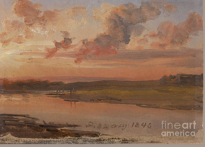 The Elbe In Evening Light Greeting Card featuring the painting The Elbe In Evening Light by Celestial Images