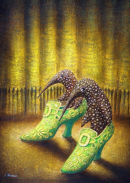 Shoes Greeting Card featuring the painting The Emerald Ships by Lolita Bronzini