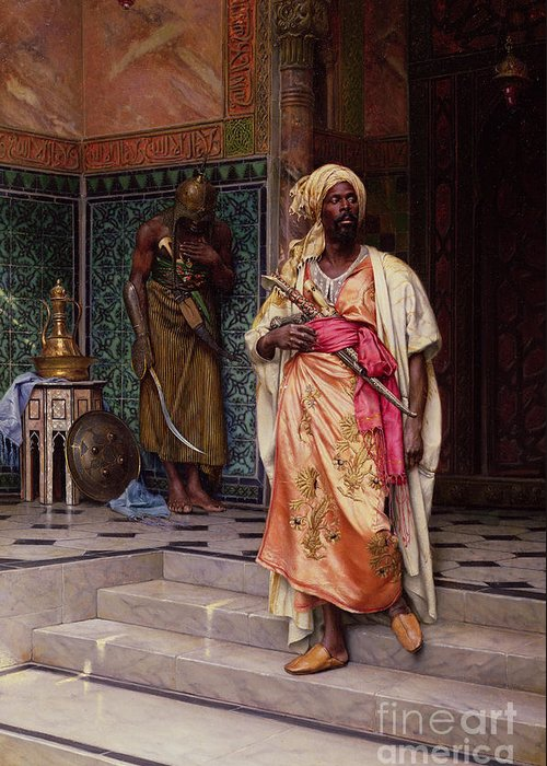 The Greeting Card featuring the painting The Emir by Ludwig Deutsch