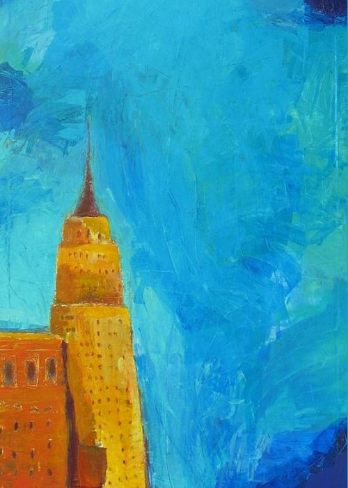 Abstract Cityscape Greeting Card featuring the painting The Empire State by Habib Ayat