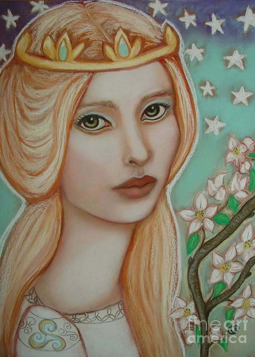 Tarot Greeting Card featuring the painting The Empress by Tammy Mae Moon