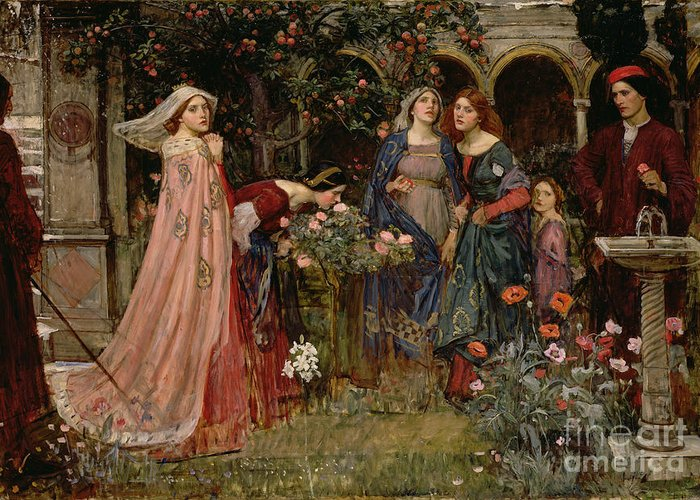 John William Waterhouse Greeting Card featuring the painting The Enchanted Garden by John William Waterhouse