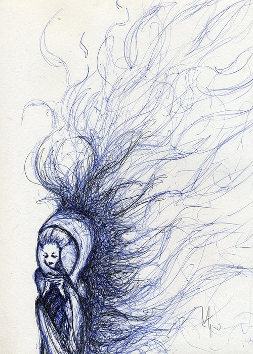 Woman Greeting Card featuring the drawing The End by Mark M Mellon