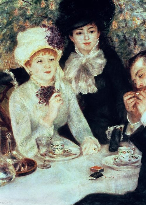 The Greeting Card featuring the painting The End Of Luncheon by Pierre Auguste Renoir