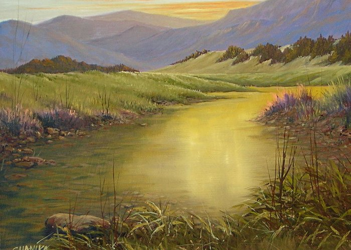 Landscape Greeting Card featuring the painting The End Of The Day 070714-79 by Kenneth Shanika