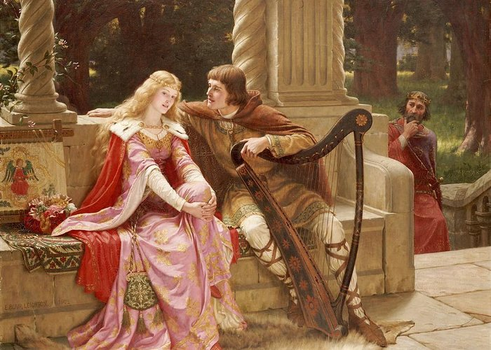 Valentine's Day Greeting Card featuring the painting The End Of The Song by Edmund Blair Leighton