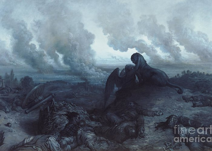 Insurrection; 1871; Burning; Smoke; Fires; Sphinx; Oedipus; Angel; Death; Devastation; Despair; Corpses; Corpse; Panorama; City; View; Destruction; Embrace; Riddle; Statue; Sculpture; Plumes; Cloud Greeting Card featuring the painting The Enigma by Gustave Dore