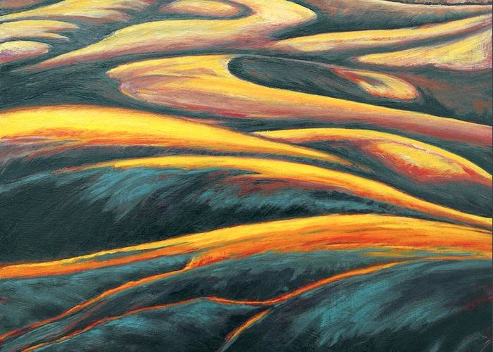 Landscape Greeting Card featuring the painting The Enigmatic Hills by Gina Grundemann