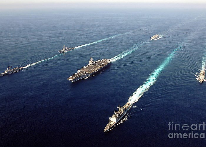 Uss Enterprise Greeting Card featuring the photograph The Enterprise Carrier Strike Group by Stocktrek Images