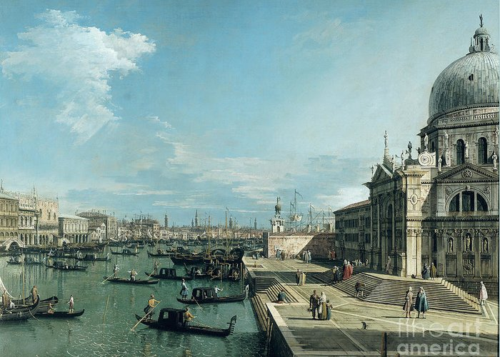 The Greeting Card featuring the painting The Entrance To The Grand Canal And The Church Of Santa Maria Della Salute by Canaletto