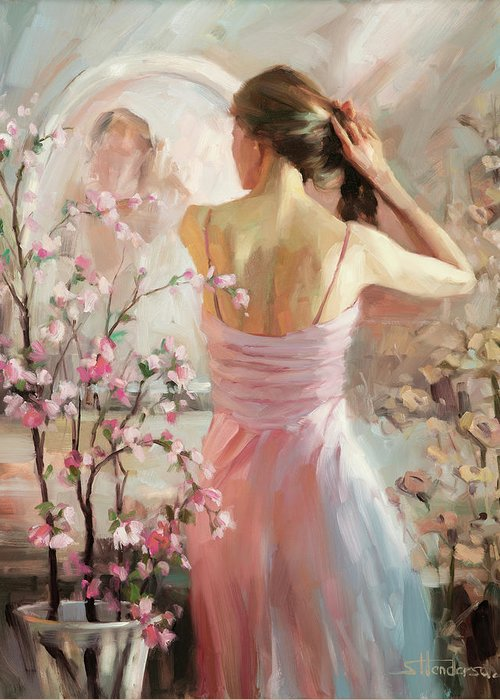 Woman Greeting Card featuring the painting The Evening Ahead by Steve Henderson