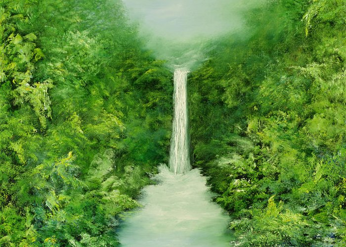 Waterfalls Greeting Card featuring the painting The Everlasting Rain Forest by Hannibal Mane