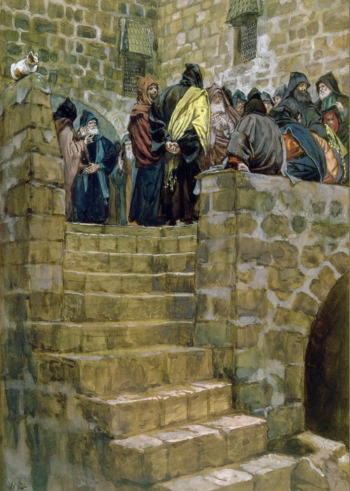 The Greeting Card featuring the painting The Evil Counsel Of Caiaphas by Tissot