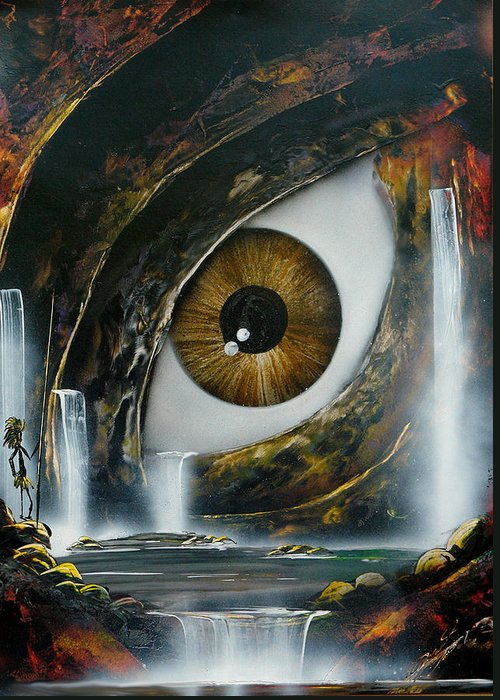 Figurative Greeting Card featuring the painting The Eye by Angel Ortiz