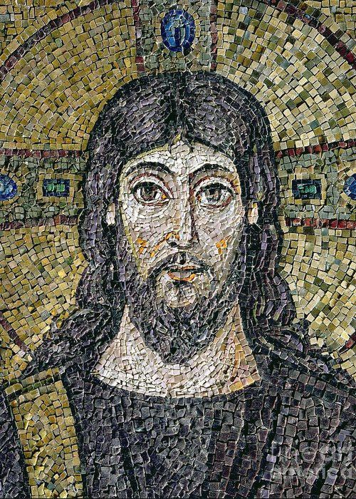 Christ Greeting Card featuring the relief The Face Of Christ by Byzantine School