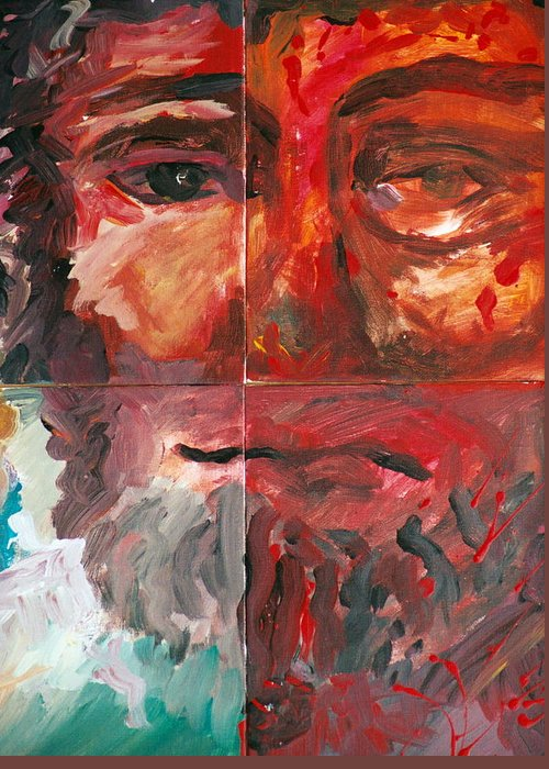 Jesus Greeting Card featuring the painting The Face Of Love by Jun Jamosmos