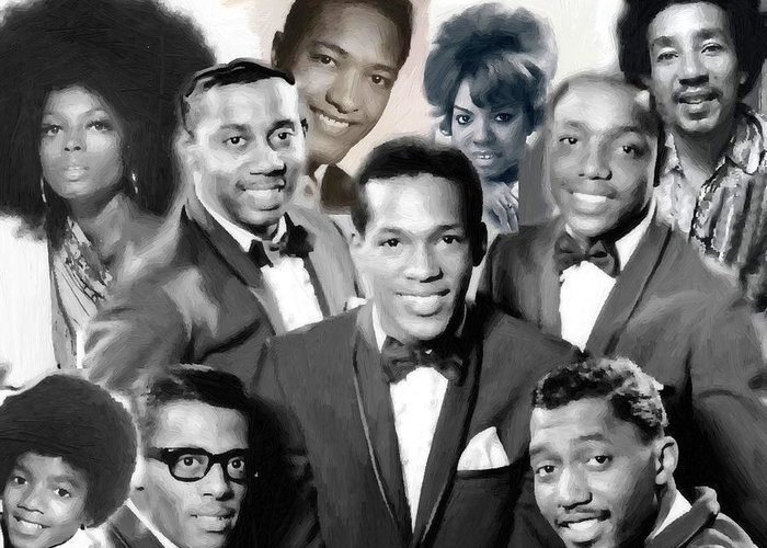 Michael Jackson Smokey Robinson The Temptations Diana Ross Mary Wells Greeting Card featuring the painting The Faces Of Motown by Peter Nowell