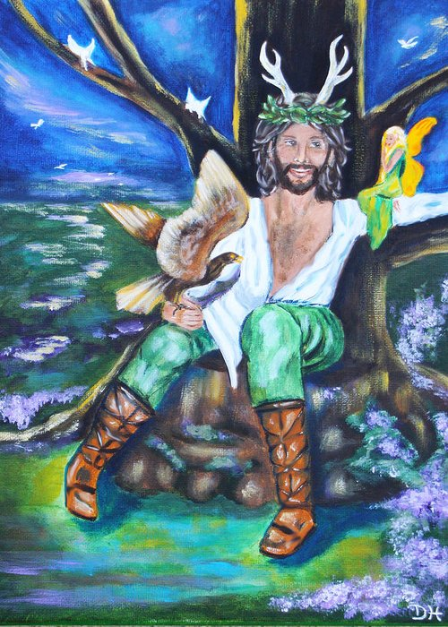 Faery Greeting Card featuring the painting The Faery King by Diana Haronis