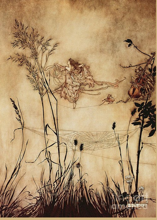 Woman Greeting Card featuring the drawing The Fairy's Tightrope From Peter Pan In Kensington Gardens by Arthur Rackham