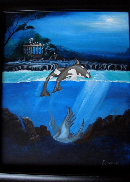 Seascape Greeting Card featuring the painting The Fallen by Glory Fraulein Wolfe