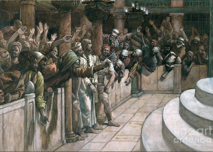 The Greeting Card featuring the painting The False Witness by Tissot