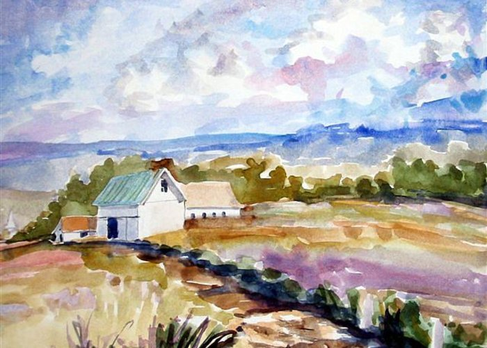Landscape Greeting Card featuring the painting The Farmhouse by Debbie Peate