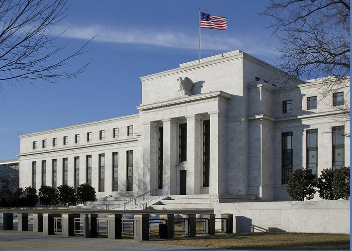 Fed Greeting Card featuring the photograph The Federal Reserve In Washington Dc by Brendan Reals